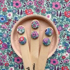 Mint Floral Fabric Stud Earrings