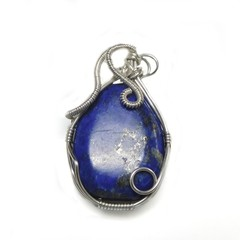 Lapis Lazuli pendant, sterling wire wrapped