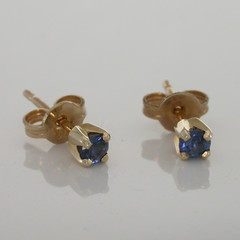 Blue Sapphires Set In 9ct Yellow Gold Regal Studs