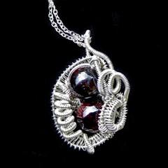 Garnet gemstone pendant, basket sterling silver weave