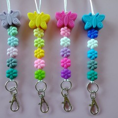 Butterfly and flower silicone bead lanyards / ID holders / badge holders