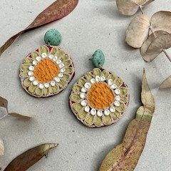 Polymer clay jewellery- statement earrings Sunflowers