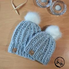 Mum & Me - Malmø Hand Knit Super Chunky Beanie Set  Womens Beanies, Girls Beanie