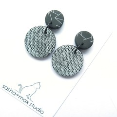 ZigZag and Texture Statement Earrings - mini round