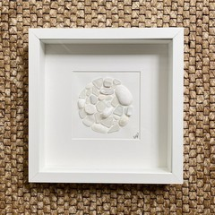 White sea glass and beach gems  frame