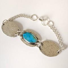 sanoran rose turquoise  silver bracelet