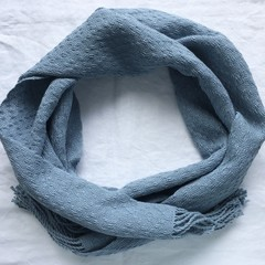 Pure Cotton Handwoven Scarf, Lacy Pattern, Blue-Grey