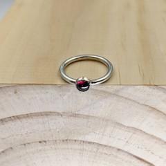 silver rhodolite garnet ring, size