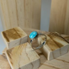 turquoise silver ring, size Q