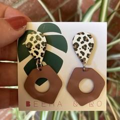 Leopard print/alloy accent earrings