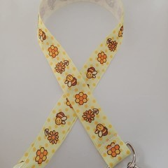 Yellow honey bee and flower print lanyard / ID holder / badge holder