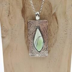 Australian lemon chrysoprase sterling silver pendant
