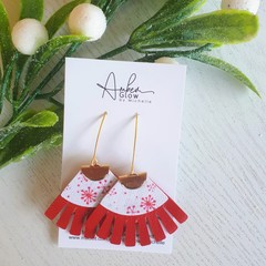 """Snowflake"" Christmas, Fringed Genuine/Faux Leather Earrings Red/ Gold"