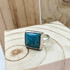 chrysocolla sivler ring, statement piece, size U