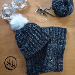 Varde Beanie & Snood/ Cowl Set Hand Knit - Women's Beanies, Girls Beanies, Wool