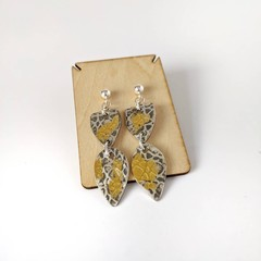 silver and gold dangle stud earrings