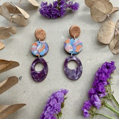 Polymer clay jewellery - statement earrings Paint Dangles