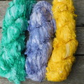 ~*~  Recycled Silk Ribbon from India 3x approx 100g  Skein Grey/Yellow/Green ~*~