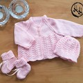 Baby set Hand Knit - Pink Matinee Jacket, bonnet and booties set
