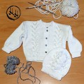 Baby set Hand Knit - Baby's set in White -  Jumper & Beanie for 6-9 months