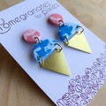 Kamile Statement Earrings in Speckled Sorbet with Brass Triangles