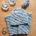 Amager Slouch Beanie & Snood/ Cowl Set  Hand Knit - Women's  or Teens Set