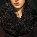 Faux Fur Infinity Scarf  - Supersoft - Cream -  Black - Snow Wolf Grey