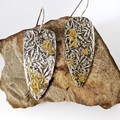 Fine silver and gold flower print earrings, fine silver with 24k gold accents