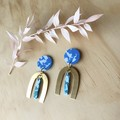 Ella Earrings in Speckled Sorbet with Large Brass Arch