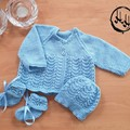 Baby set Hand Knit - Blue Matinee Jacket, bonnet and booties set