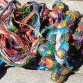 Recycled Silk Sari Ribbon ~ * Recycled Silk from India *~ 100gram Gliterry Glam