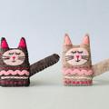 Embroidered felt cat brooch, sleepy black cat, animal pin, handmade tabby kitten
