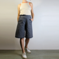 Grey Cotton Canvas Bermuda Shorts with White Top Stitching, Pockets, Flat Front