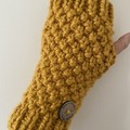 Mustard chunky  handwarmers ladies or men's texting gloves