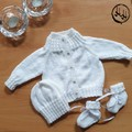 Baby set Hand Knit - Baby's Matinee set in White or Pink with Bonnet & Booties