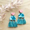 Serra Statement Earrings in Speckled Sorbet with Cotton Tassels