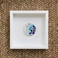 Blue sea glass & sea pottery frame