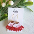 """""""Snowflake"""" Christmas, Fringed Genuine/Faux Leather Earrings Red/ Gold"""
