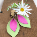 Pink and lime Leather earrings