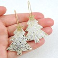 Christmas tree earrings - traditional colours - silver & gold