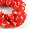 Christmas Scrunchies - gold stars on red