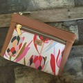 Dbl. Zip Pouch - Pink Proteas/Tan Faux Leather