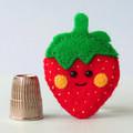 Felt Strawberry brooch, smiley berry fruit, handmade strawberry pin