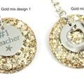 Teacher Glitter keychain charms - gold