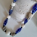 Navy, white and silver Necklace