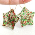 Christmas star earrings - traditional colours - red, green & gold
