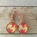 12mm glass Summer Garden cabochon earrings