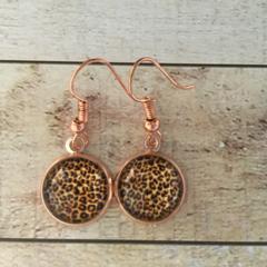 12mm glass Cheetah cabochon earrings