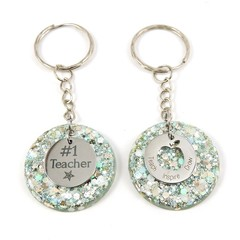 Teacher Glitter keychain charms - silver & ice blue