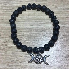 Aromatherapy wicca bracelet - lava stone and triple moon goddess